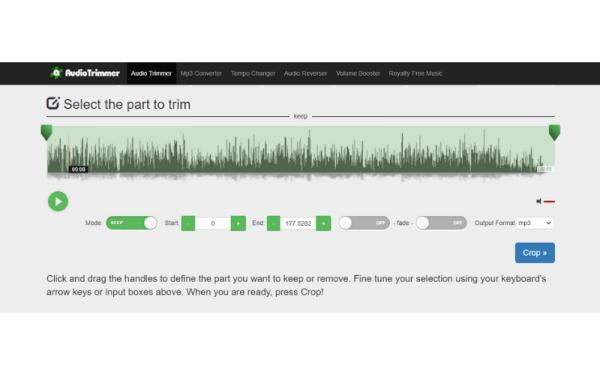 Editores de audio online gratis - Audio Trimmer