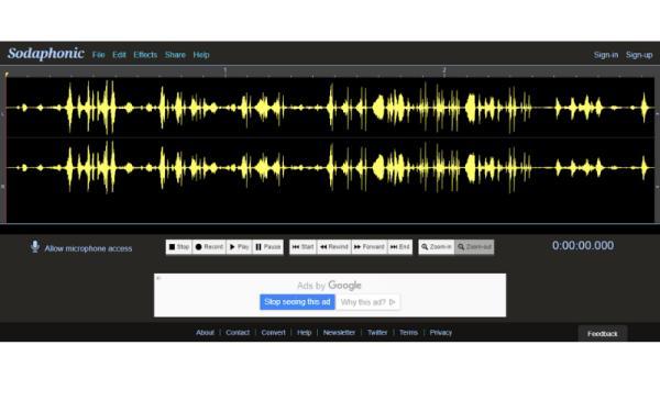 Editores de audio online gratis - Sodaphonic